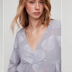 Aritzia Wilfred Augustine peplum blouse lavender